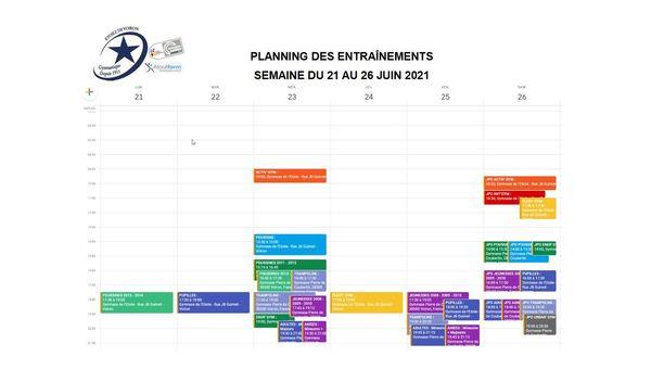 PLAINNING SEMAINE DU 21 AU 26 JUIN 2021